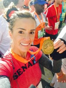 Senada after finishing The 2013 New York Marathon.