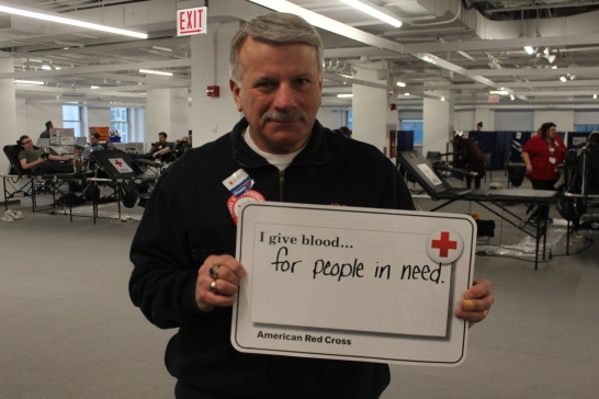 Jim Piacentini encourages other to donate blood.