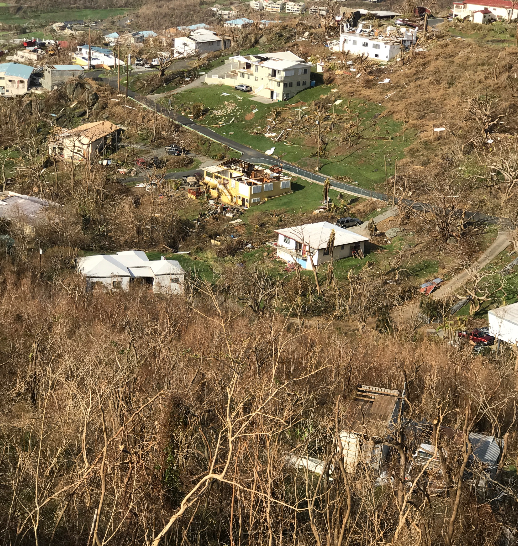 Houses on the less affected side of the island